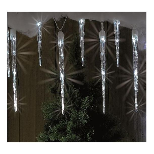Istapper med sne effekt og 30 LED lys - 10 istapper som kan serie-forbindes
