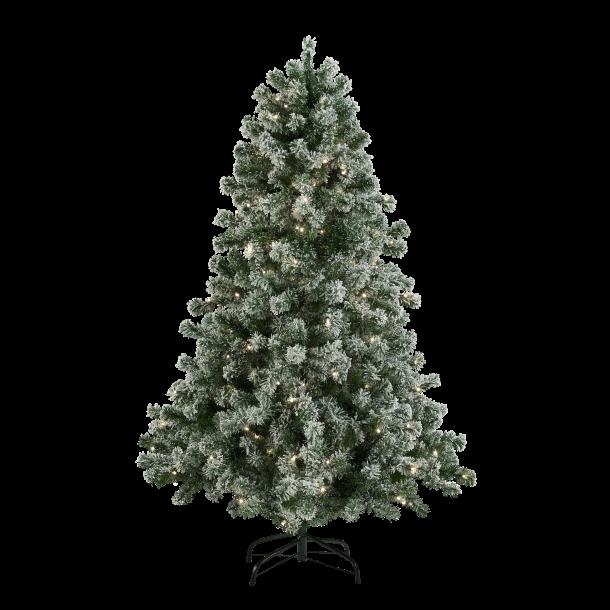 Juletræ på 150 cm med 170 LED - kunstigt plastik juletræ med sne