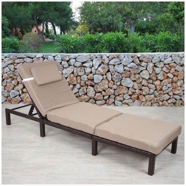 Polyrattan liggestol - brun polyrattan solseng med 10 cm creme hynde - Premium