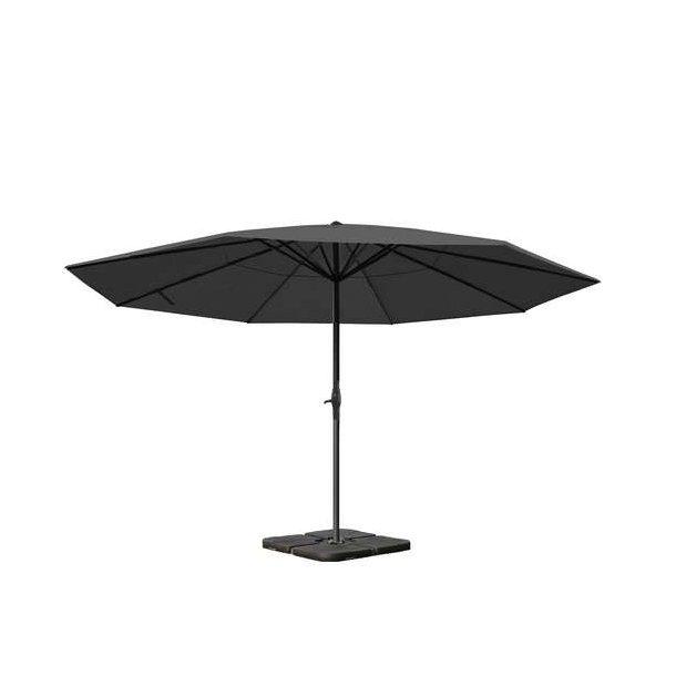 Markedsparasol Ø5 m - antracit parasol Ø500 cm med krank, fod og fliser