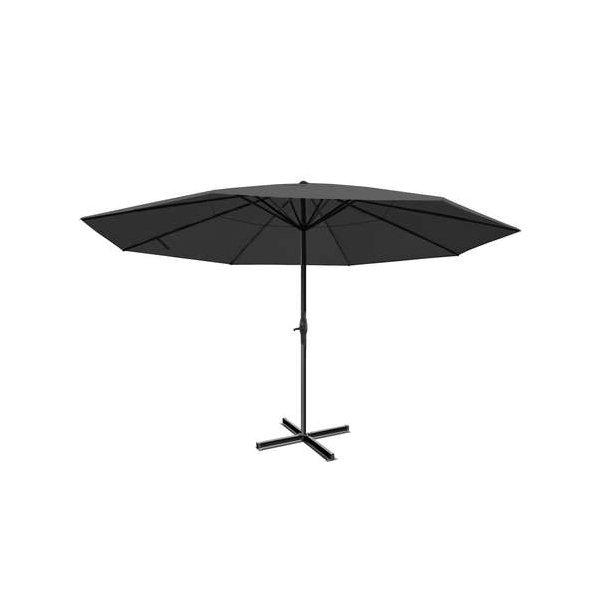 Markedsparasol Ø5 m - antracit parasol Ø500 cm med krank og krydsfod