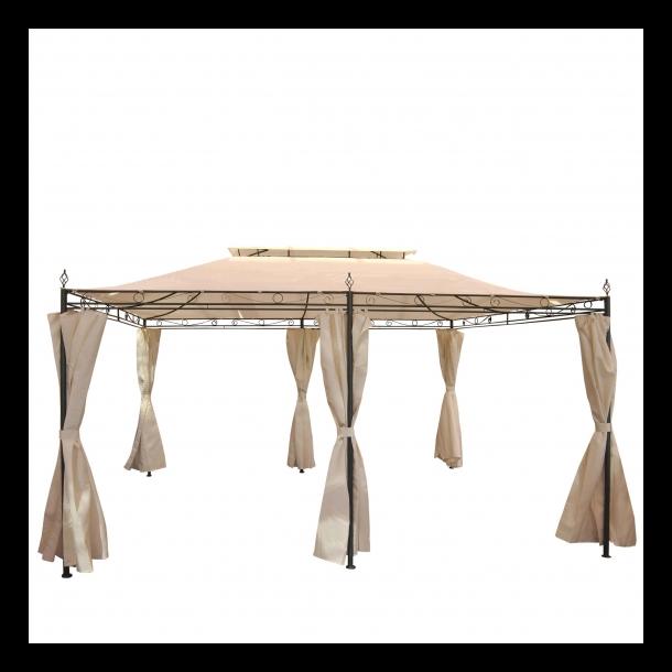 Pavillon 4x3m - creme/beige havepavillon med sidestof