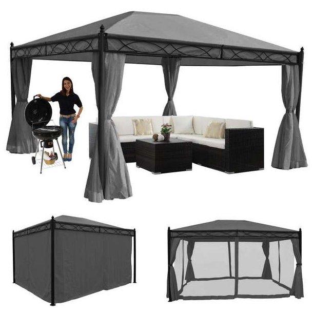 Havepavillon 4x3m - grå pavillon med myggenet og sidegardiner