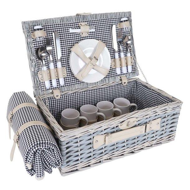 Picnickurv til 4 personer - picnicsæt i flet med picnictæppe