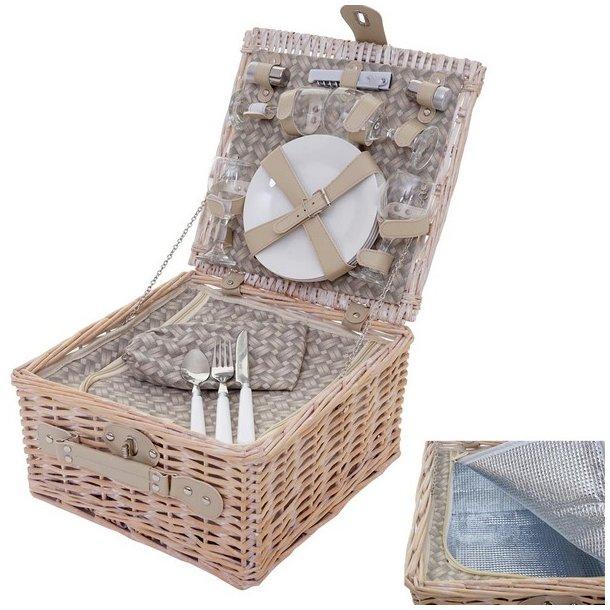 Picnickurv til 4 personer - picnic sæt i flet med termo køleskab