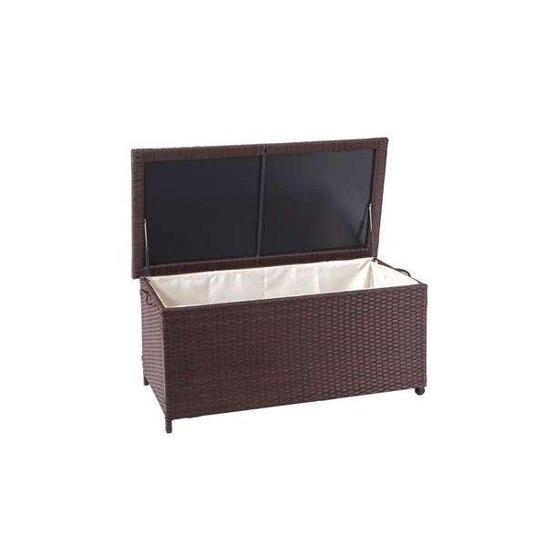 Polyrattan hyndeboks - brun hyndeboks på 170 liter - 51x100x50 Premium model