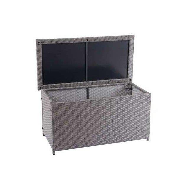 Polyrattan hyndeboks - grå hyndeboks på 170 liter - 51x100x50 Basis model