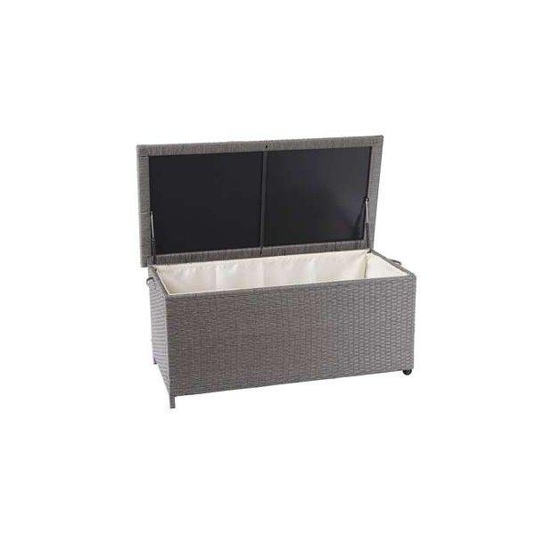 Polyrattan hyndeboks - grå hyndeboks på 170 liter - 51x100x50 Premium model