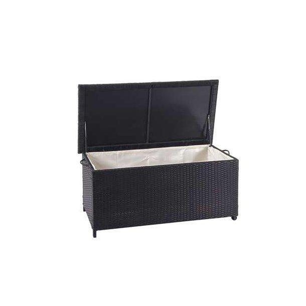 Polyrattan hyndeboks - sort hyndeboks på 170 liter - 51x100x50 Premium model