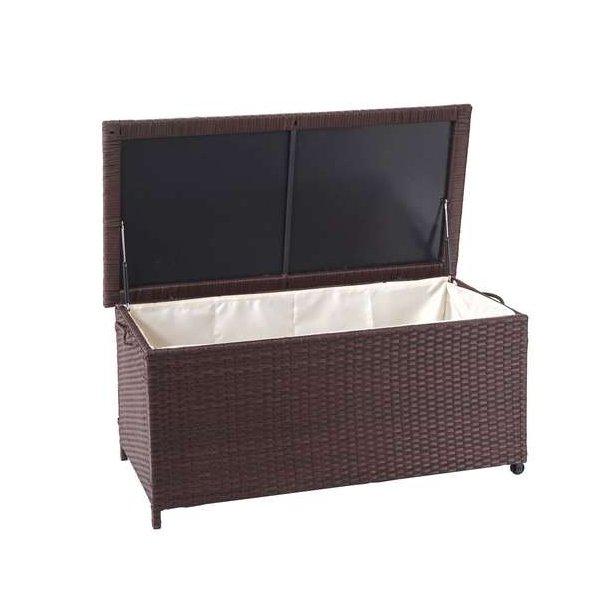 Polyrattan hyndeboks - brun hyndeboks på 250 liter - 51x115x59 Premium model