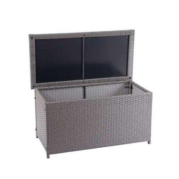 Polyrattan hyndeboks - grå hyndeboks på 250 liter - 51x115x59 Basis model
