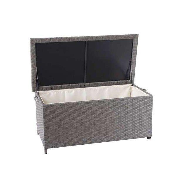 Polyrattan hyndeboks - grå hyndeboks på 250 liter - 51x115x59 Premium model