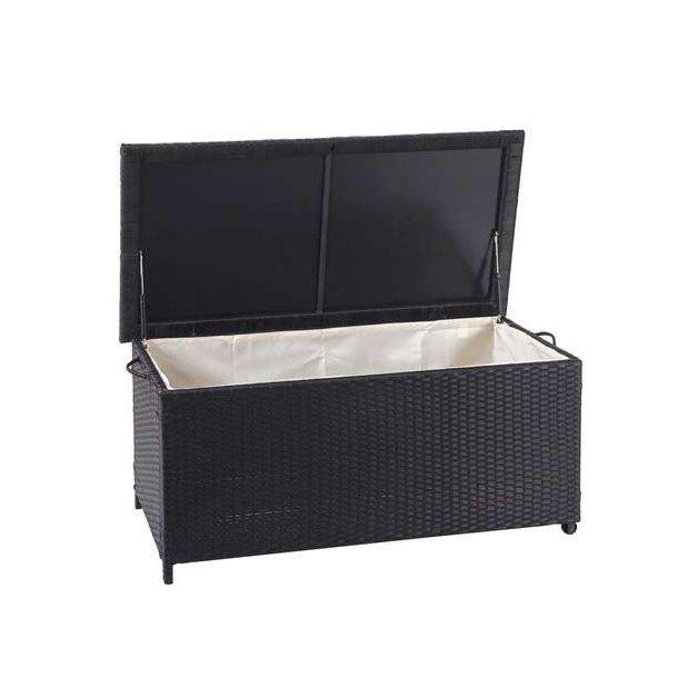 Polyrattan hyndeboks - sort hyndeboks på 250 liter - 51x115x59 Premium model