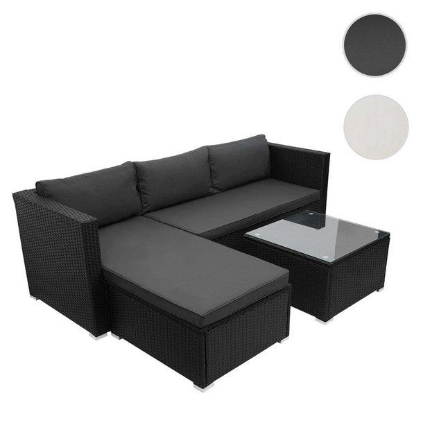 Loungesæt - sorte polyrattan siddegruppe med mørkegrå hynder