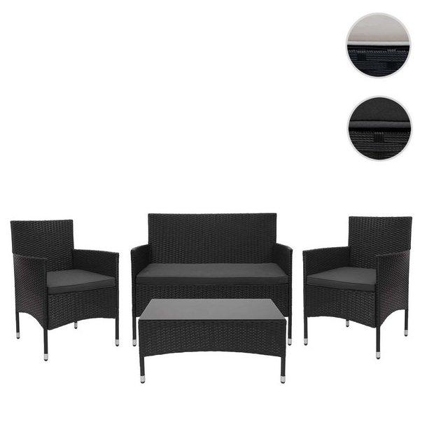Polyrattan havemøblelsæt - sort polyrattan lounge havemøbler - sort 2-1-1