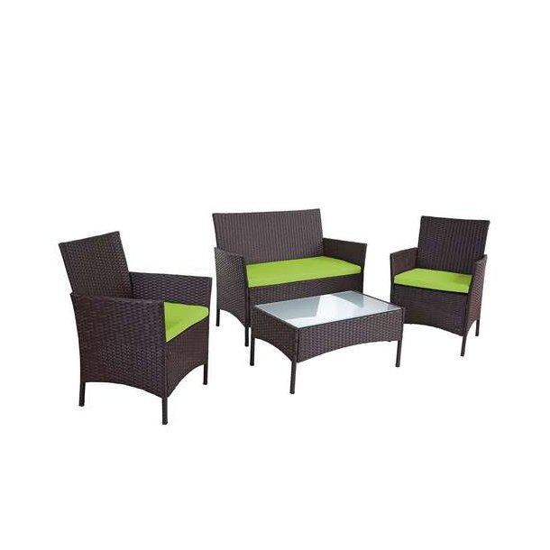 Polyrattan havemøbler - brunmeleret loungesæt - brun 2-1-1 sofasæt