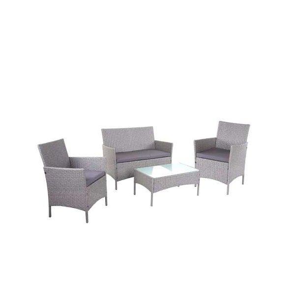 Polyrattan havemøbler - gråt polyrattan loungesæt - grå 2-1-1 sofasæt