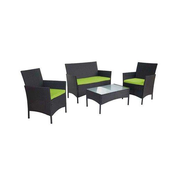 Polyrattan havemøbler - sort polyrattan loungesæt - sort 2-1-1 sofasæt