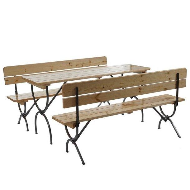 Bord- og bænkesæt - 2 havebænke og 1 havebord - sammenklappeligt foldbart