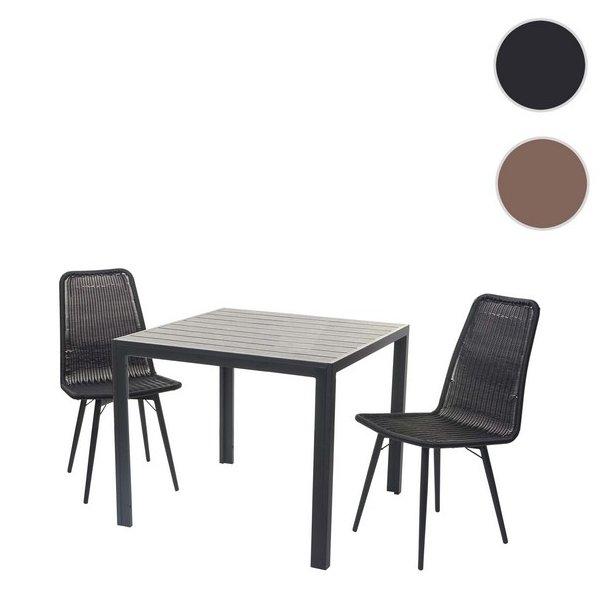 Havemøbelsæt - sort havebord og 2 polyrattan havestole til 2 personer