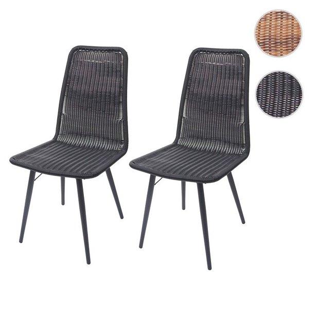 Sorte polyrattan havestole - 2 stk havemøbler til 2 personer
