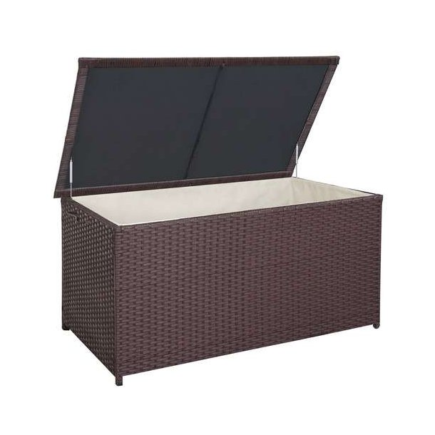 Polyrattan hyndeboks - stor brun hyndeboks på 950 liter - 80x160x94 Premium model