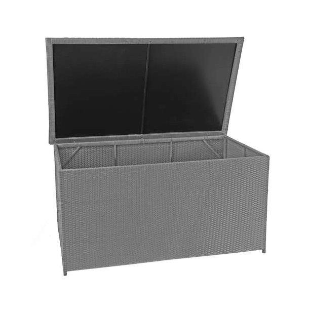 Polyrattan hyndeboks - stor grå hyndeboks på 950 liter - 80x160x94 Basis model