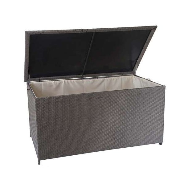Polyrattan hyndeboks - stor grå hyndeboks på 950 liter - 80x160x94 Premium model