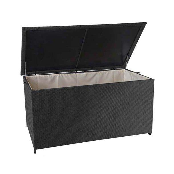 Polyrattan hyndeboks - stor sort hyndeboks på 950 liter - 80x160x94 Premium model