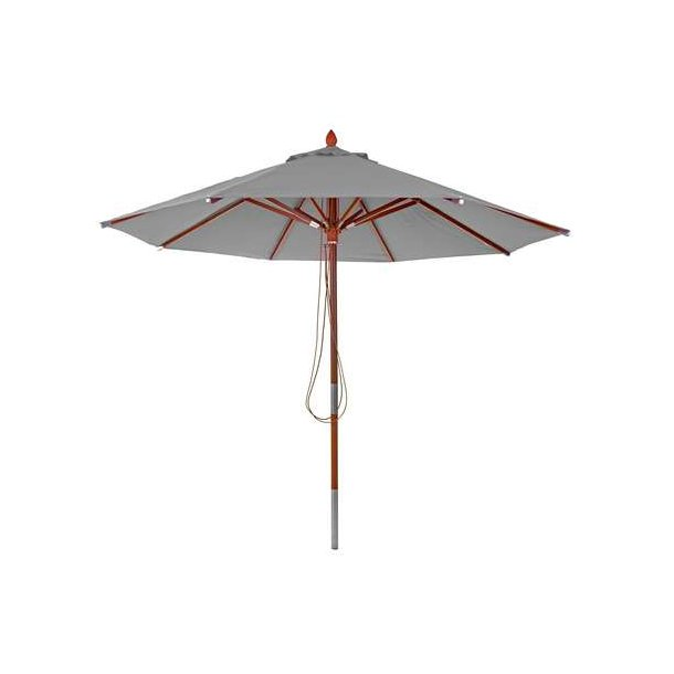 Træparasol Ø300 cm - luksus antracit parasol - haveparasol Ø3 meter