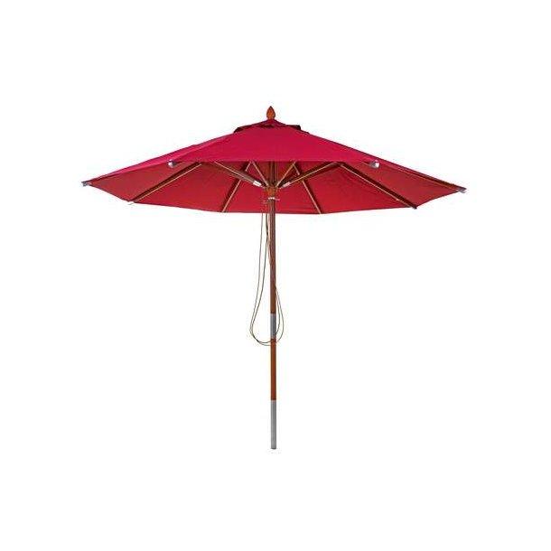 Træparasol Ø300 cm - luksus bordeaux rød parasol - haveparasol Ø3 meter