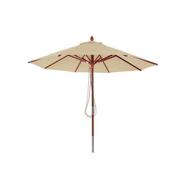 Træparasol Ø300 cm - luksus creme/beige parasol - haveparasol Ø3 meter