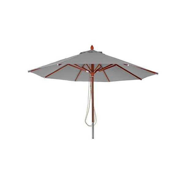 Træparasol Ø400 cm - luksus antracit parasol - haveparasol Ø4 meter