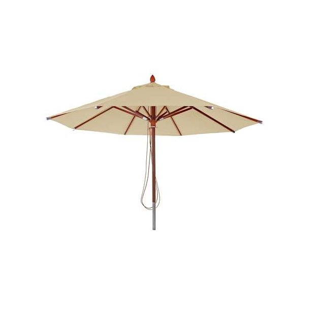 Træparasol Ø400 cm - luksus creme/beige parasol - haveparasol Ø4 meter