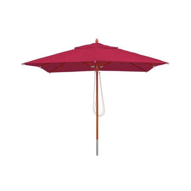 Træparasol - luksus bordeaux rød parasol - haveparasol 3x3 meter