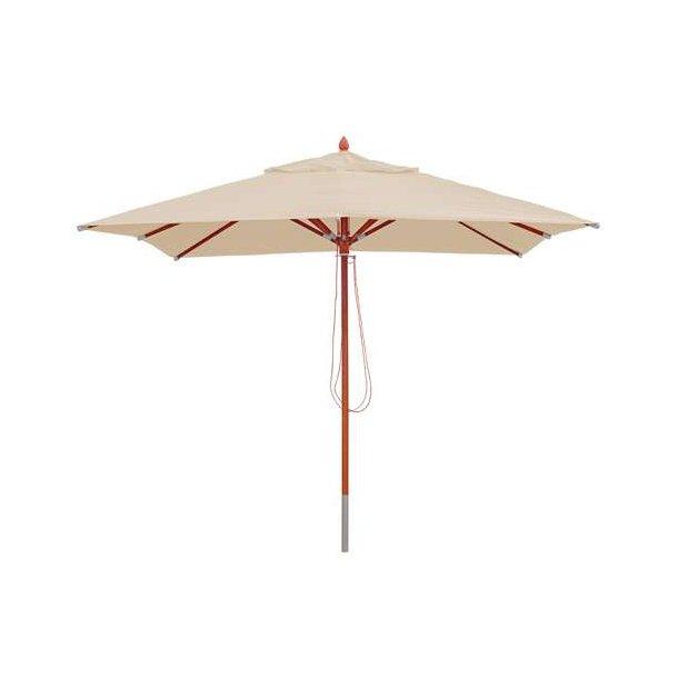Træparasol - luksus creme/beige parasol - haveparasol 3x3 meter