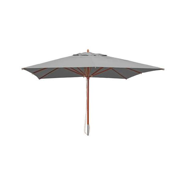 Fabriksnye Træparasol - luksus antracit parasol - haveparasol 4x4 meter AX-94