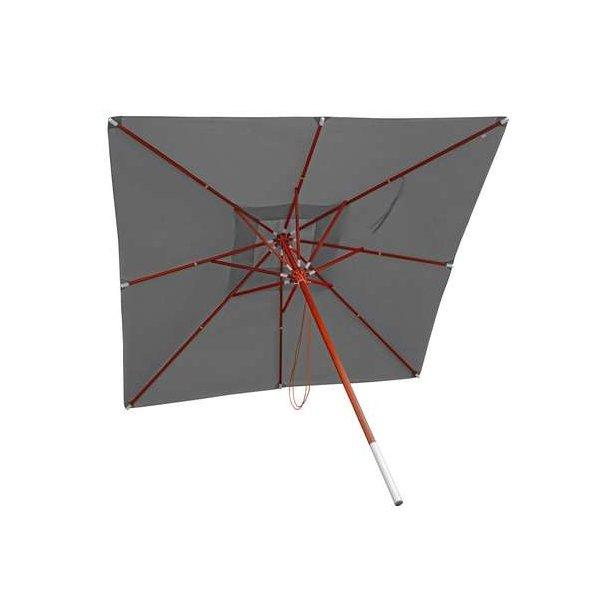Moderne Træparasol - luksus antracit parasol - haveparasol 4x4 meter YO-69