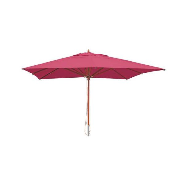Træparasol - luksus bordeaux rød parasol - haveparasol 4x4 meter
