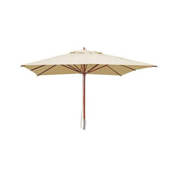 Træparasol - luksus creme/beige parasol - haveparasol 4x4 meter