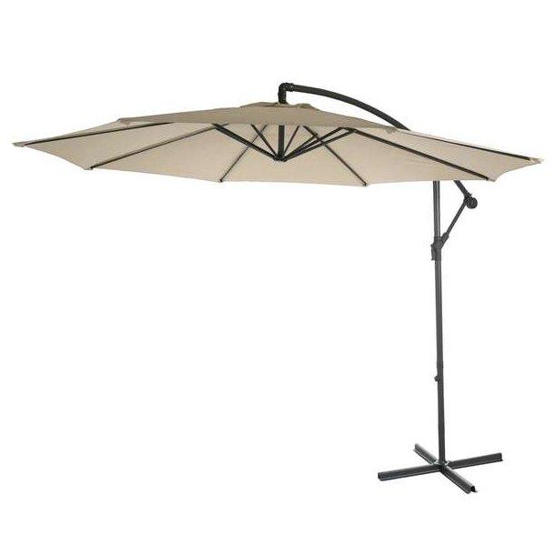 Hængeparasol Ø3 meter - Ø300 cm creme vipbar parasol med krydsfod