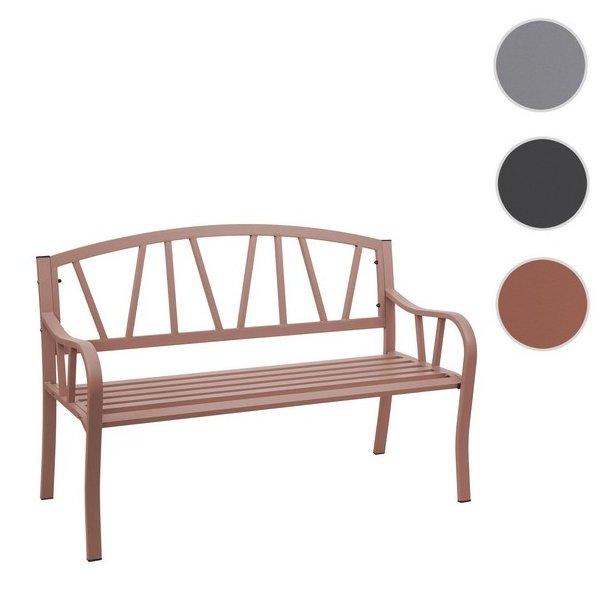 Havebænk - parkbænk og stålbænk i pulverlakeret stål ~ brun