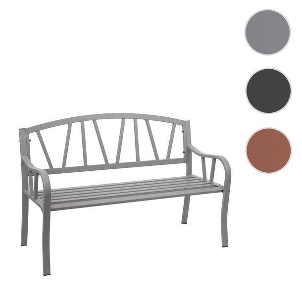 Havebænk - parkbænk og stålbænk i pulverlakeret stål ~ grå