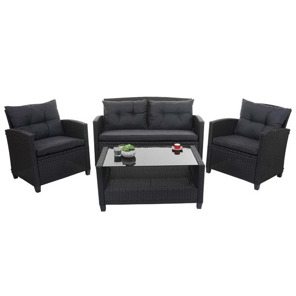 Havemøbelsæt - sorte polyrattan havemøbler med antracit hynder