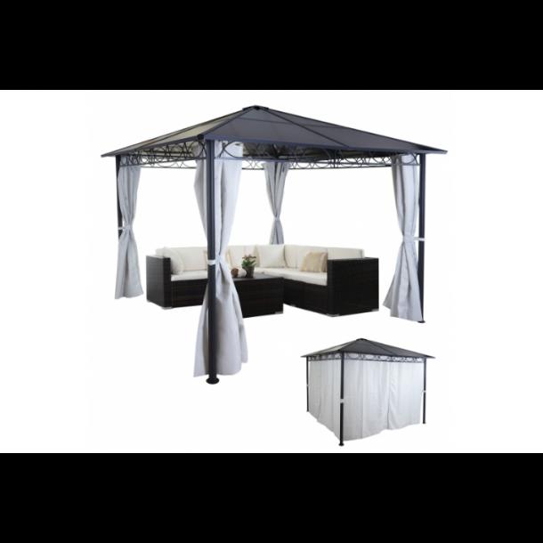 Havepavillon 3x3m - beige pavillon med fast tag og sidestof