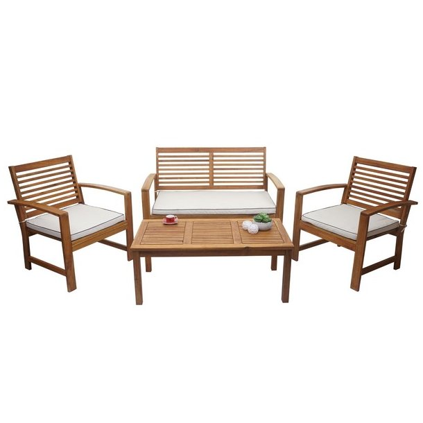 Havemøbelsæt 4 dele med hynder massivt akacietræ - loungesæt