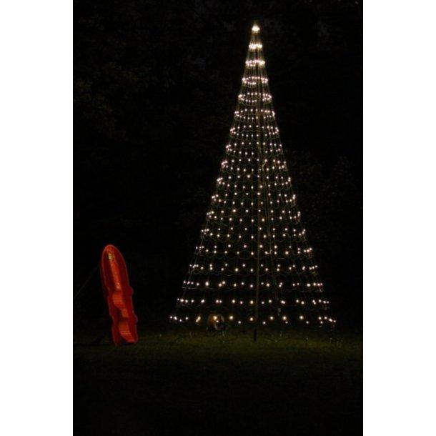 Lysnet på 3 meter inkl. flagstang - 3M lystræ med 320 varm hvid LED lys