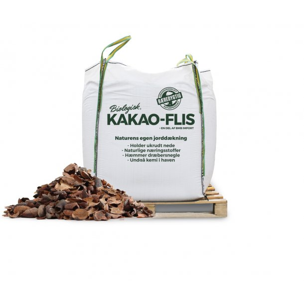 Kakao-flis 1 m3 bigbag - økologisk bunddække