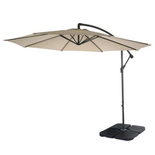 Hængeparasol Ø3 meter - Ø300 cm creme vipbar parasol med krydsfod og fliser