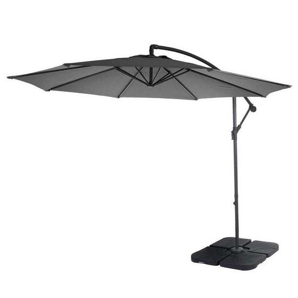 Hængeparasol Ø3 meter - Ø300 cm antracit vipbar parasol med krydsfod og fliser